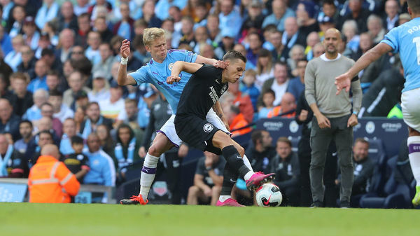 Match action during the Premier League match between Manchester City and Brighton and Hove Albion at the Etihad Stadium on the 31st August 2019