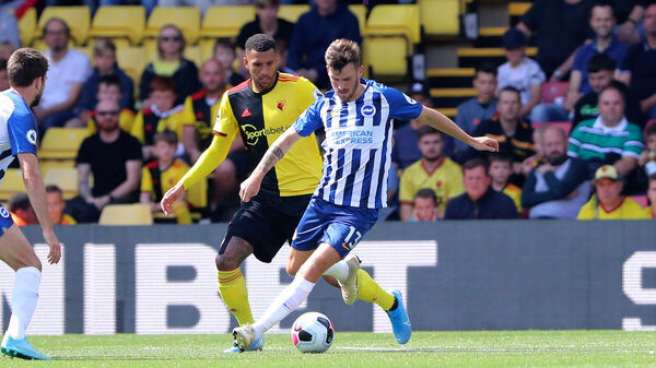 Brighton and Hove Albion midfielder Pascal Gross (13). Match action during the Premier League match between Watford and Brighton and Hove Albion at Vicarage Road on the 10th August 2019