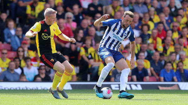 Brighton and Hove Albion midfielder Dale Stephens (6) & Will Hughes. Match action during the Premier League match between Watford and Brighton and Hove Albion at Vicarage Road on the 10th August 2019