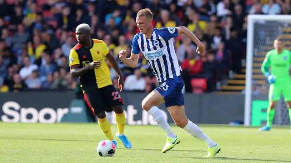 Brighton and Hove Albion defender Dan Burn (33). Match action during the Premier League match between Watford and Brighton and Hove Albion at Vicarage Road on the 10th August 2019