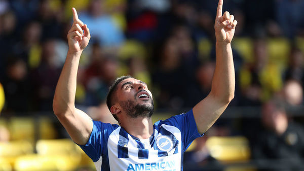 Brighton and Hove Albion striker Neal Maupay (7) celebrates after scoring a goal to make it 3-0. Match action during the Premier League match between Watford and Brighton and Hove Albion at Vicarage Road on the 10th August 2019