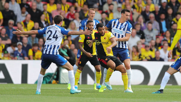 Match action during the Premier League match between Watford and Brighton and Hove Albion at Vicarage Road on the 10th August 2019