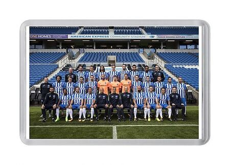 Official team photo at the American Express Community Stadium at the start of the 2017_18 season