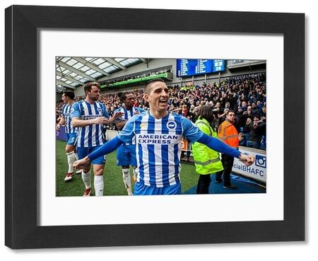 Brighton and Hove Albion midfielder Anthony Knockaert (11)celebrates after Brighton and Hove Albion forward Glenn Murray (17) scores a goal to make it 1-0