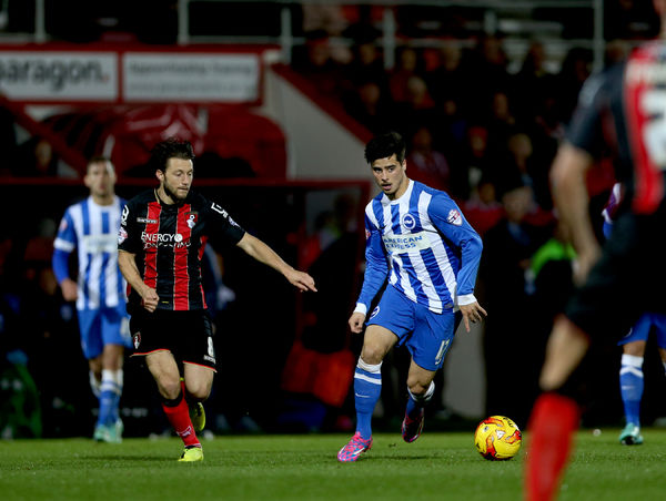 Joao Teixeira during the SkyBet Championship match between Bournemouth and Brighton and Hove Albion at the Goldsands Stadium, 1st November 2014
