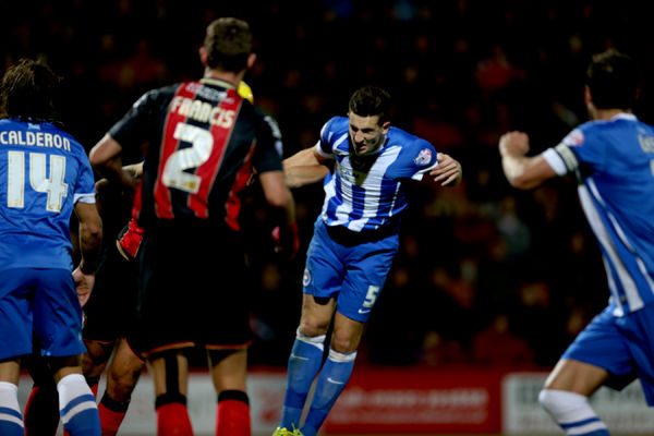 Lewis Dunk heads at goal during the SkyBet Championship match between Bournemouth and Brighton and Hove Albion at the Goldsands Stadium, 1st November 2014