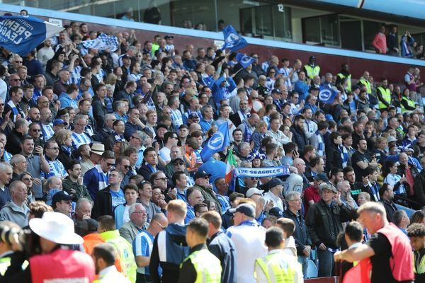 Brighton fans during the EFL Sky Bet Championship game between Aston Villa and Brighton and Hove Albion at Villa Park Stadium, Birmingham, on the 7th May 2017