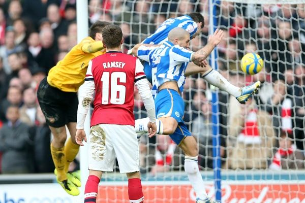 Ashley Barnes scores to make it 1-1 during Brighton & Hove Albion v Arsenal, FA Cup fourth round, Amex Stadium, Brighton, Sat January 26th 2013