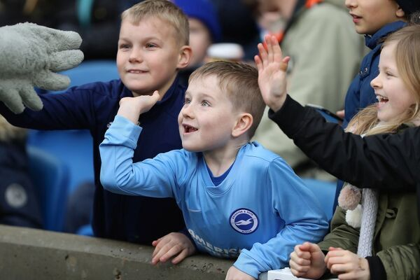Albion fans. Match action during the Premier League match between Brighton and Hove Albion and Bournemouth at the American Express Community Stadium, Brighton on the 1st January 2018