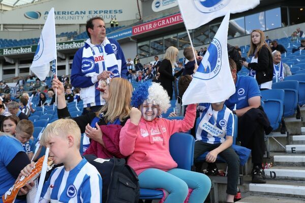 Match action during the EFL Sky Bet Championship game between Brighton and Hove Albion and Bristol City at the American Express Community Stadium, Falmer on the 29th April 2017
