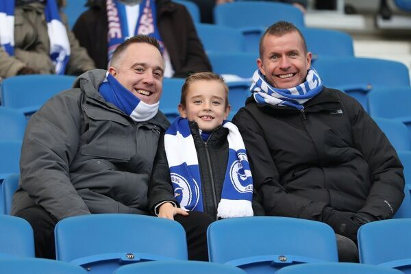 Fans and supporters during the Premier League match between Brighton and Hove Albion and Burnley at the American Express Community Stadium, Brighton on the 16th December 2017