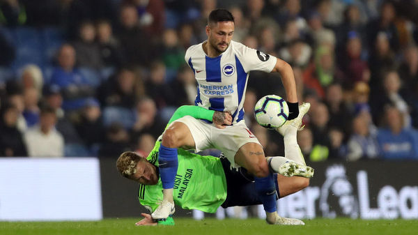 Match action during the Premier League match between Brighton and Hove Albion and Cardiff City at the American Express Community Stadium, Falmer, Brighton on the 16th April 2019