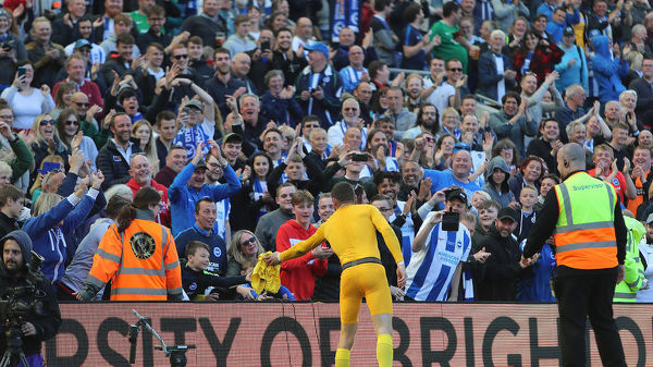 Brighton and Hove Albion goalkeeper Mathew Ryan (1) gives his shorts to a fan on the lap of appreciation. Match action during the Premier League match between Brighton and Hove Albion and Manchester City at the American Express Community Stadium