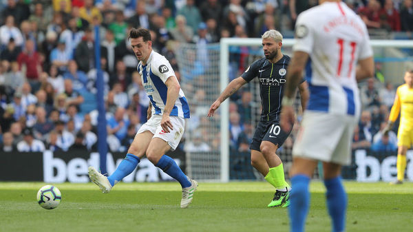 Match action during the Premier League match between Brighton and Hove Albion and Manchester City at the American Express Community Stadium, Falmer, Brighton on the 12th May 2019