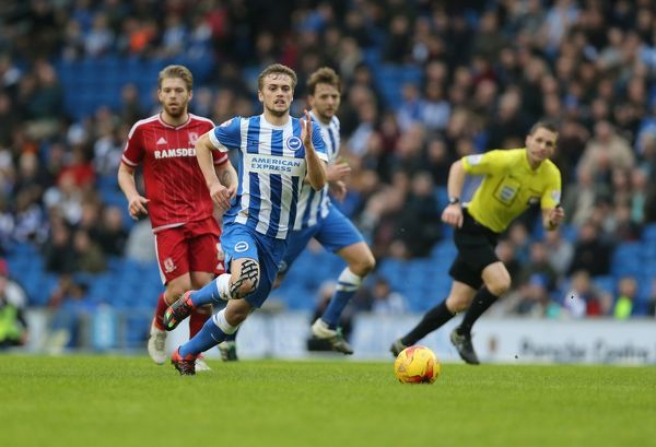 Match action during the Sky Bet Championship match between Brighton and Hove Albion and Middlesbrough at the American Express Community Stadium, Lewes, Falmer, England on 19th December 2015