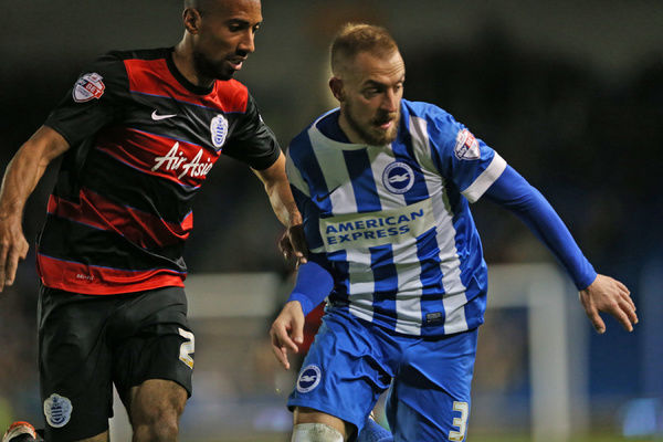 Match action during the Sky Bet Championship match between Brighton and Hove Albion and Queens Park Rangers at the American Express Community Stadium, Lewes, Falmer, England on 19th April 2016