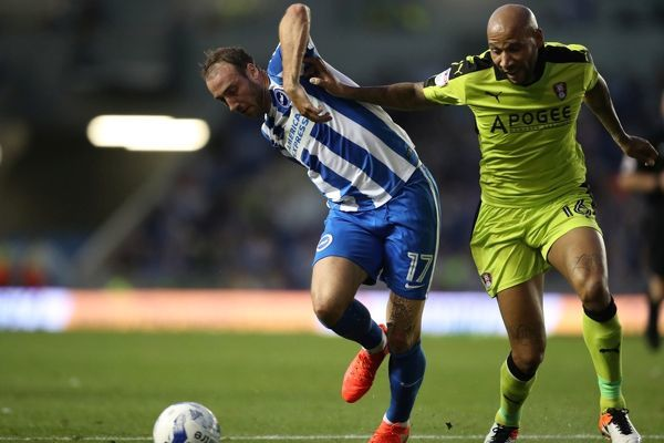 Match action during the EFL Sky Bet Championship game between Brighton and Hove Albion and Rotherham United at the American Express Community Stadium, Falmer on the 16th August 2016