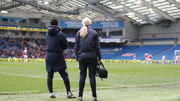 Match action during the Women's Super League match between Brighton and Hove Albion Women and Arsenal Women at the American Express Community Stadium on the 28th April 2019