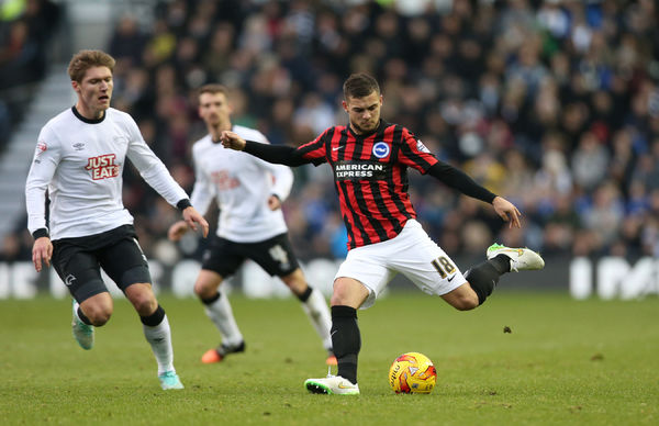 Jake Forster-Caskey during the Sky Bet Championship match between Derby County and Brighton and Hove Albion at the iPro Stadium, Derby, England on 6th December 2014