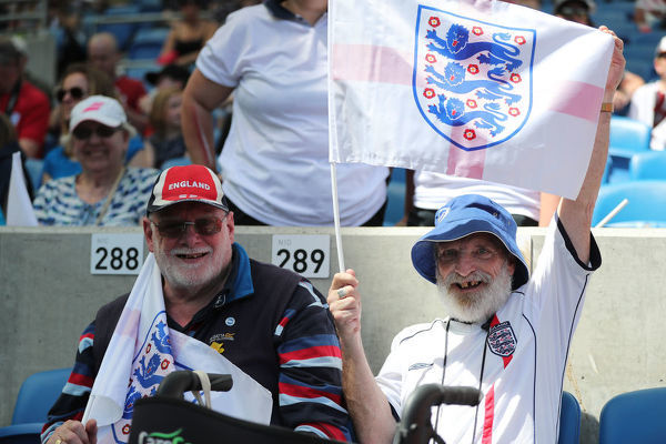 fans, supporters during the FIFA World Cup Warm Up Match between England Women and New Zealand Women at the American Express Community Stadium, Falmer, Brighton on the 1st June 2019