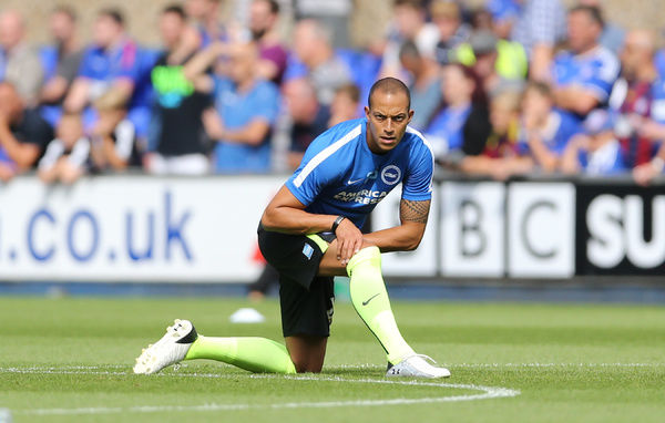 Brighton striker, Bobby Zamora, Robert Zamora during the Sky Bet Championship match between Ipswich Town and Brighton and Hove Albion at the Portman Road, Ipswich, England on 28th August 2015