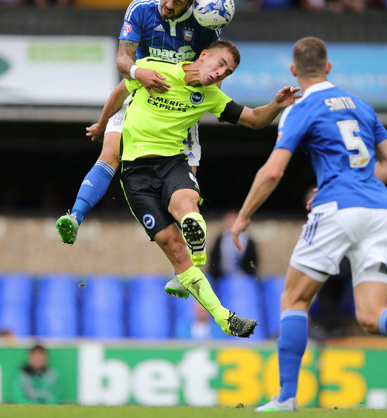Brighton defender, Uwe Huenemeier during the Sky Bet Championship match between Ipswich Town and Brighton and Hove Albion at the Portman Road, Ipswich, England on 28th August 2015