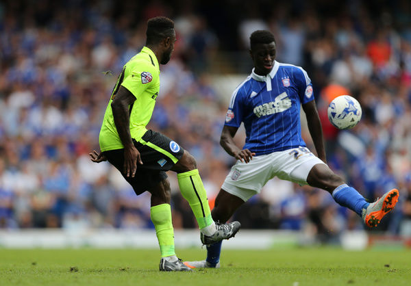 Brighton midfielder, winger, Kazenga LuaLua during the Sky Bet Championship match between Ipswich Town and Brighton and Hove Albion at the Portman Road, Ipswich, England on 28th August 2015