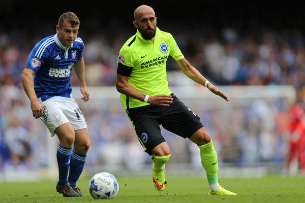 Brighton defender, Bruno Saltor during the Sky Bet Championship match between Ipswich Town and Brighton and Hove Albion at the Portman Road, Ipswich, England on 28th August 2015