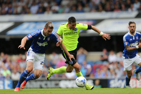Brighton striker, Tomer Hemed scores a goal to make it 3-2 to Brighton during the Sky Bet Championship match between Ipswich Town and Brighton and Hove Albion at the Portman Road, Ipswich, England on 28th August 2015