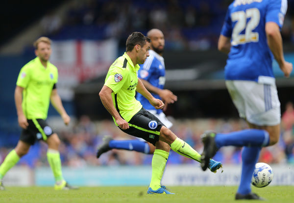 Brighton striker, Sam Baldock during the Sky Bet Championship match between Ipswich Town and Brighton and Hove Albion at the Portman Road, Ipswich, England on 28th August 2015