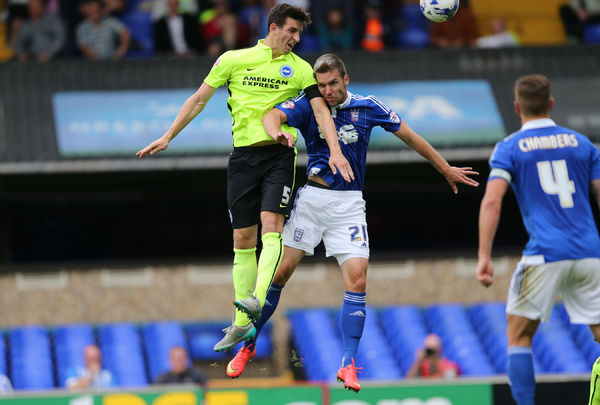 Brighton central defender, Lewis Dunk header goes close during the Sky Bet Championship match between Ipswich Town and Brighton and Hove Albion at the Portman Road, Ipswich, England on 28th August 2015