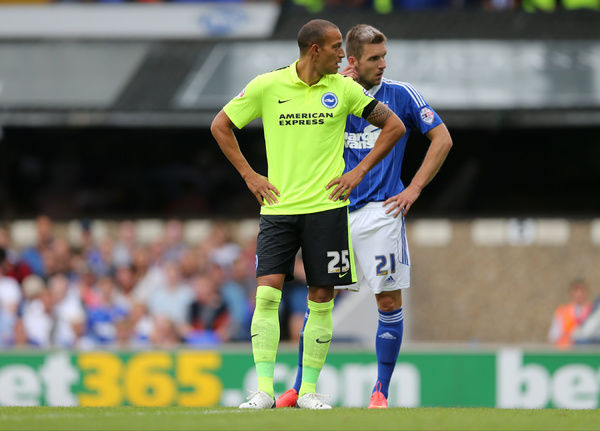 Brighton striker, Bobby Zamora, Robert Zamora makes his debut from the bench at Portman Road during the Sky Bet Championship match between Ipswich Town and Brighton and Hove Albion at the Portman Road, Ipswich, England on 28th August 2015