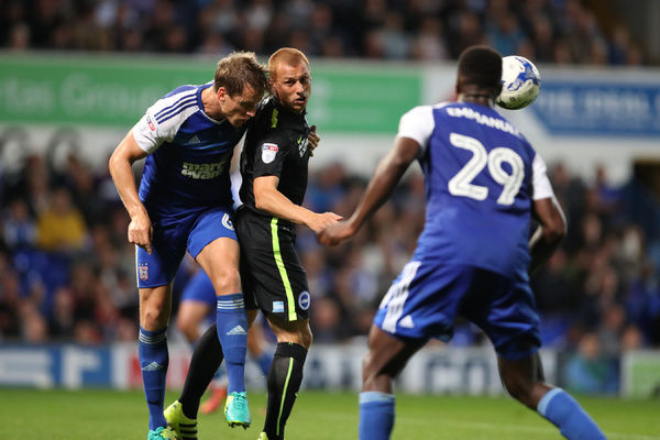 Match action during the EFL Sky Bet Championship match between Ipswich Town and Brighton and Hove Albion at Portman Road, Ipswich, England on 27th September 2016