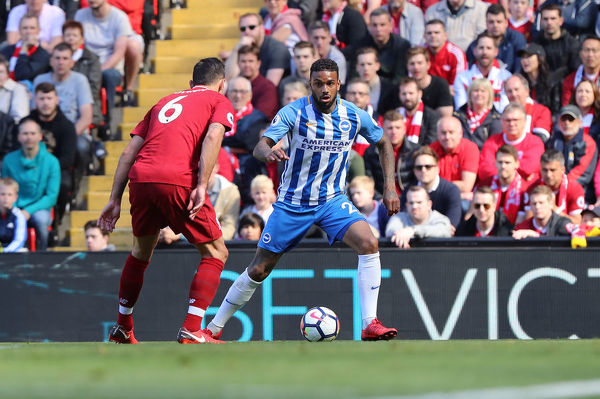 Match action during the Premier League game between Liverpool and Brighton and Hove Albion at Anfield, Liverpool on the 13th May 2018