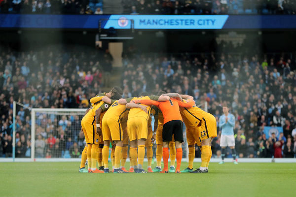 Match action during the Premier League game between Manchester City and Brighton and Hove Albion at The Etihad Stadium, Manchester on the 9th May 2018