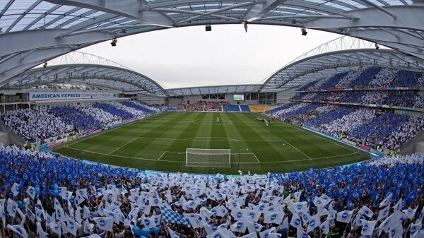 Fans create a sea of blue and white at the first competitive game at the Amex. Saturday 6th August 2011