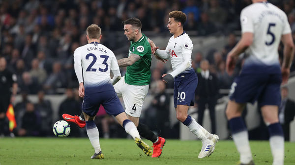 Match action during the Premier League match between Tottenham Hotspur and Brighton and Hove Albion at the Tottenham Hotspur Stadium on the 23rd April 2019