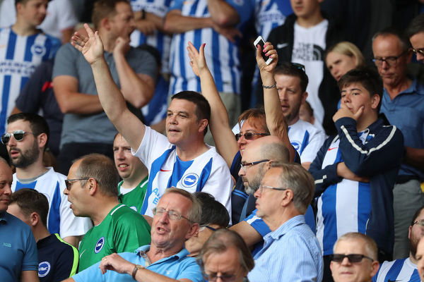 Albion fans. Match action during the Premier League match between Watford and Brighton and Hove Albion at Vicarage Road, Watford on the 11th August 2018
