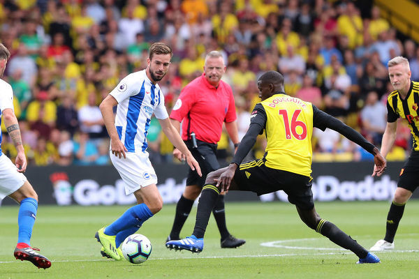 Brighton and Hove Albion midfielder Davy Propper (24). Match action during the Premier League match between Watford and Brighton and Hove Albion at Vicarage Road, Watford on the 11th August 2018