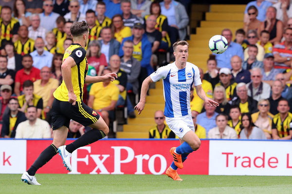Brighton and Hove Albion midfielder Solly March (20). Match action during the Premier League match between Watford and Brighton and Hove Albion at Vicarage Road, Watford on the 11th August 2018