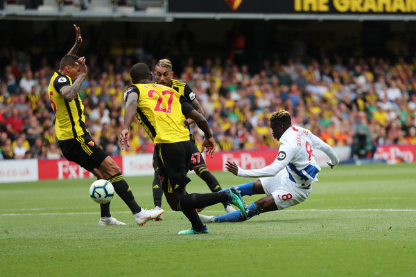 Match action during the Premier League match between Watford and Brighton and Hove Albion at Vicarage Road, Watford on the 11th August 2018
