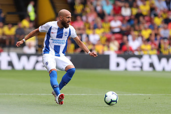 Brighton and Hove Albion defender Bruno (2). Match action during the Premier League match between Watford and Brighton and Hove Albion at Vicarage Road, Watford on the 11th August 2018