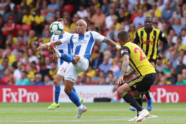 Brighton and Hove Albion midfielder Anthony Knockaert (11). Match action during the Premier League match between Watford and Brighton and Hove Albion at Vicarage Road, Watford on the 11th August 2018