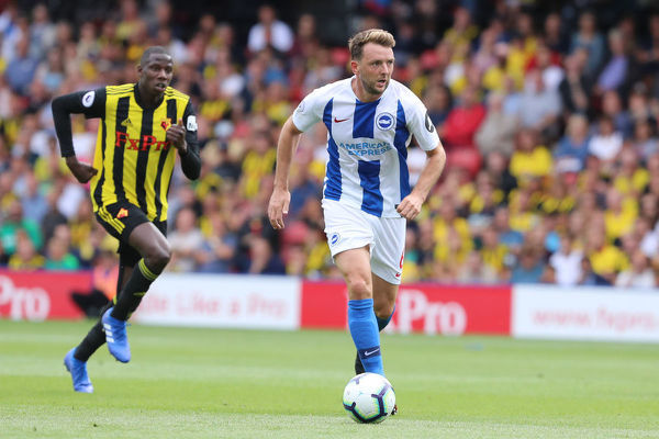 Brighton and Hove Albion midfielder Dale Stephens (6). Match action during the Premier League match between Watford and Brighton and Hove Albion at Vicarage Road, Watford on the 11th August 2018