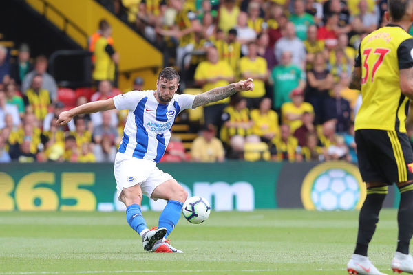 Brighton and Hove Albion defender Shane Duffy (4). Match action during the Premier League match between Watford and Brighton and Hove Albion at Vicarage Road, Watford on the 11th August 2018