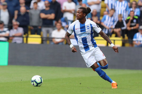 Brighton and Hove Albion defender Gaetan Bong (3). Match action during the Premier League match between Watford and Brighton and Hove Albion at Vicarage Road, Watford on the 11th August 2018