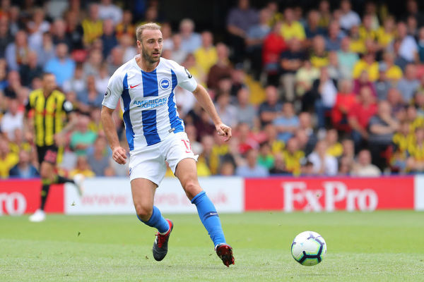 Brighton and Hove Albion striker Glenn Murray (17). Match action during the Premier League match between Watford and Brighton and Hove Albion at Vicarage Road, Watford on the 11th August 2018
