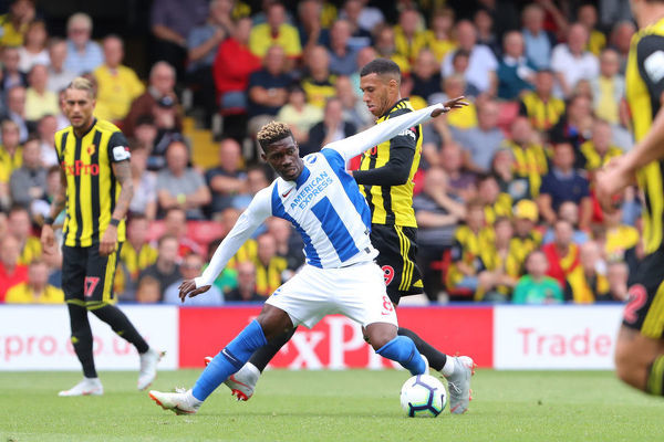 Brighton and Hove Albion midfielder Yves Bissouma (8) & Etienne Capoue. Match action during the Premier League match between Watford and Brighton and Hove Albion at Vicarage Road, Watford on the 11th August 2018