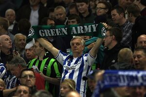 Albion fans show their support for Plymouth Argyle at the Amex