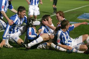 Albion players celebrate Dean Hammond's first goal